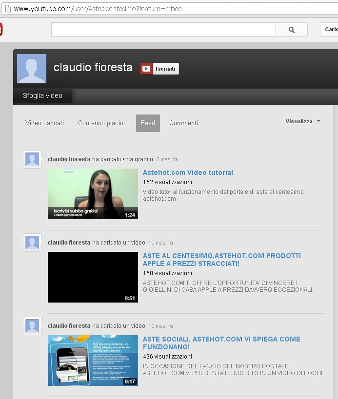 canale di AsteHot in YouTube
